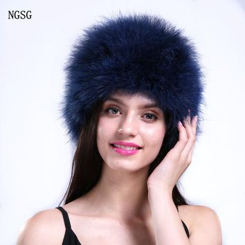 Brand Fur Hat For Girls Women Winter Ostrich Fur Skullies Beanies Solid Sample Pattern Casual Fashion Style Jewelry Blue  ET4030