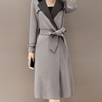 Gray Notched Collar Long Trench Coat
