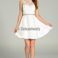 White Cocktail Dress With Beaded Waist and Lace Bodice
