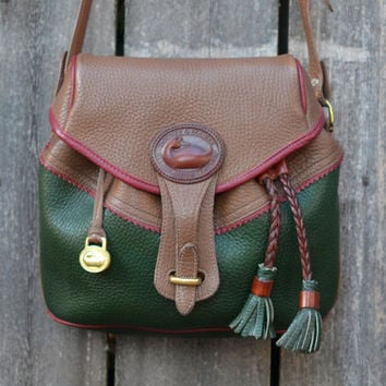 Vintage Teton Dooney & Bourke Green and Brown Drawstring Purse