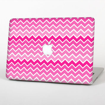 The Pink & White Ombre Chevron V2 Skin Set for the Apple MacBook Laptop (Most Versions Available - Choose Coverage)