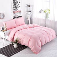 New Bedding Set Sweetheart Full Pink Style Striped Bed Sheet Duver Quilt Cover Pillowcase Soft Silver Gray King Queen Full Twin