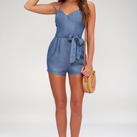 Atoll Blue Chambray Romper