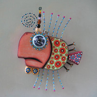 Twisted Guppy, Original Found Object Wall Art, Wood Carving, by Fig Jam Studio