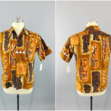 Vintage / 1950's / 1960's / Hawaiian Shirt / Barefoot Paradise / Made in Hawaii / 100% Cotton / Aloha Shirt / Tiki God / Size XL / 46""