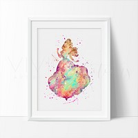 Belle, Beauty and the Beast Watercolor Art Print