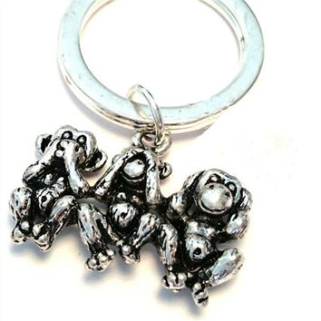 12pcs/lot Three Monkeys Keychain Three wise monkeys Charm Keyring See no evil, Three Monkeys Jewelry