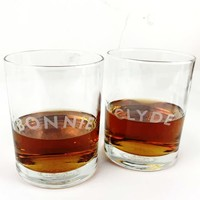 Bonnie and Clyde Whiskey Glass Set