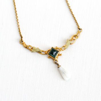 Antique 10k Rose Yellow Gold Filled Simulated Emerald Lavalier Necklace - Vintage 1900s Edwardian Art Nouveau Green Glass Leaf Pearl Jewelry