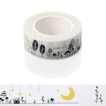 1 Pc / Pack Moon House Dog Star Decorative Tapes 1.5 X 10m Washi Paper Masking Tape Diy Labeling Floral Stickers Scrapbooking