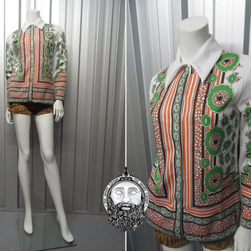Vintage 60s Psychedelic Print Hippy Blouse Dagger Collar Shirt 1960s Tunic Top Flower Power Trippy Shirt White Shirt Groovy Pattern Mod Top