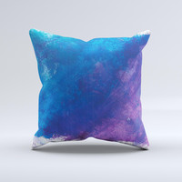 Blue & Purple Pastel Ink-Fuzed Decorative Throw Pillow