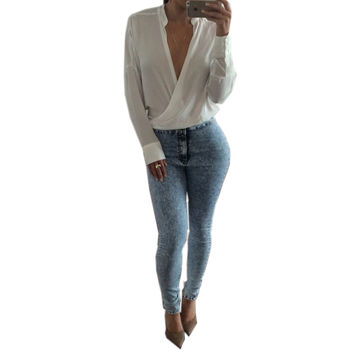 2017 Women Summer Long Sleeve Blouse Shirt Plunge Deep V Pleated Stand Collar Cotton Casual Solid Low Cut Shirt Tee