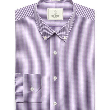 Carey Gingham Dress Shirt In Grape