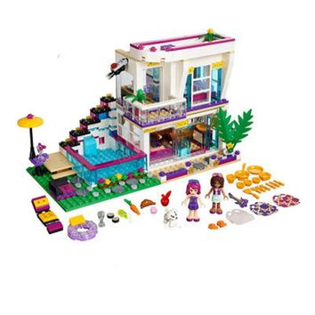 New 619pcs Friends Series Livi's Pop Star House Building Blocks Andrea mini-doll figures Toy Compatible With Legoingly