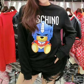 """""""Moschino"""" Women Casual Fashion Letter Transformers Bear Pattern Long Sleeve Round Neck Sweater Tops"""