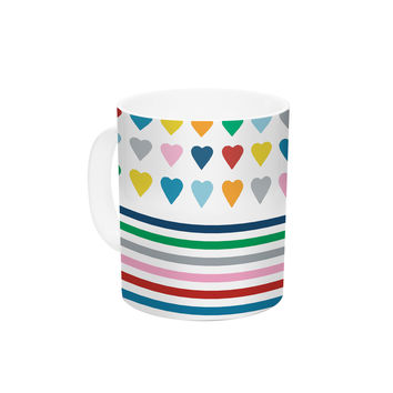 "Project M ""Heart Stripes"" Rainbow Shapes Ceramic Coffee Mug"