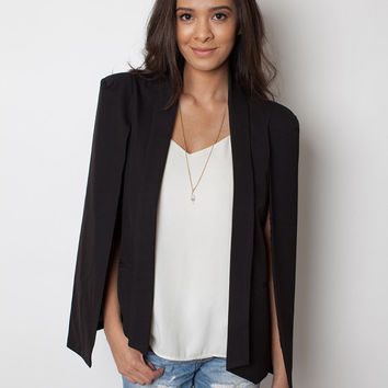 Chic Cape jacket, Cape blazer, black jacket, office lady jacket, trendy jacket, business casual jacket, chic jacket, women black jacket