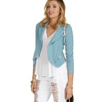 Lt Blue Asymmetrical Moto Jacket
