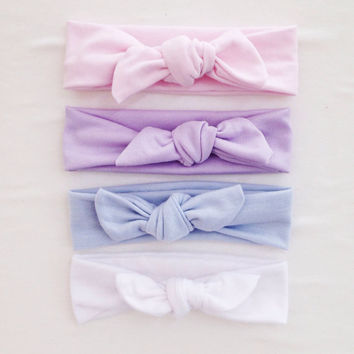 Jersey Knit Baby Girl Headband Tie Knot - Pastel - Light Pink - Purple - Blue - Lavender -jersey -bow -tie knot -baby toddler adult :TK