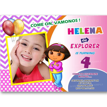 Dora The Explorer Chevron Polka Dot Kids Birthday Invitation Party Design