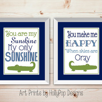Nursery Wall Decor You are My Sunshine Alligator Decor Kids Room Art Prints for Kids Childrens wall art Digital Art Prints Blue Green