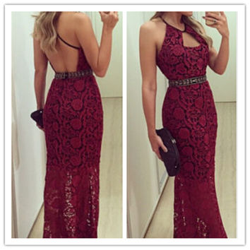 Sleeveless Hot Sale Lace Spaghetti Strap Sexy Backless Prom Dress One Piece Dress [9644407053]