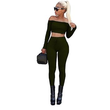 Free Ostrich 2018 Sexy Bodycon Bandage Women Sets Off Shoulder Criss Cross Crop Top Long Pants Two Piece Set Clothing C2235