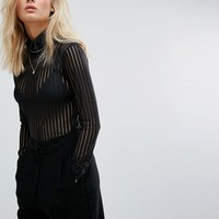 Moss Copenhagen Long Sleeve Top In Sheer Stripe With High Neck at asos.com