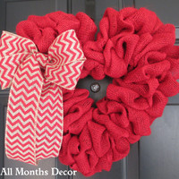 Red Burlap Heart Wreath with Red/Natural Chevron Bow, Patriotic, Flag Theme, Labor Day, Memorial, 4th of July Independence Day, Spring