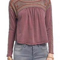 Free People 'Snow Bunny' Embroidered Swing Top | Nordstrom