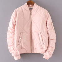 Pink Crew Neck Rib-knit Cuff Pockets Jacket