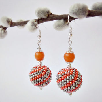 Orange & Silver grey Beaded Bead Earrings with Natural Orange Jade, Spiral Peyote Stitched Earrings