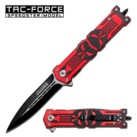 Two Tone Stainless Steel Knife w/ Red Skull Design