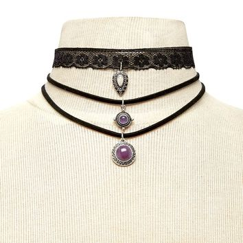 Faux Gem Pendant Choker Set