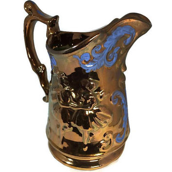 Copper Lusterware Pitcher, Large Milk Pitcher, Dancing Ladies, Blue Painted Detail, Shiny Copper Glazed Ceramic Pottery, Floral Vase