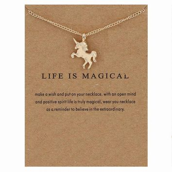 Unicorn Pendant Necklace - Gold/Silver