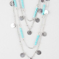 Full Tilt Coin/Bead Swag Layered Necklace Silver One Size For Women 26502114001