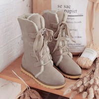Hot Deal On Sale Flat Round-toe Cotton Plus Size Boots [120848646169]