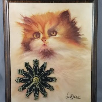 1980 80s Decor Wooden Plaque Cat Wall Clock Art Signed Jenkins Works with Battery