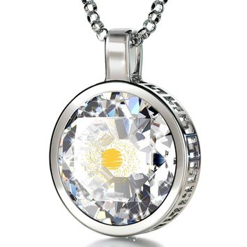 """""""I Love You to the Moon and Back"""", 14k White Gold Necklace, Cubic Zirconia"""