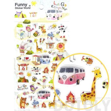 Camping Themed Giraffe Bears Birds Shaped Animal Themed Jelly Stickers for Scrapbooking