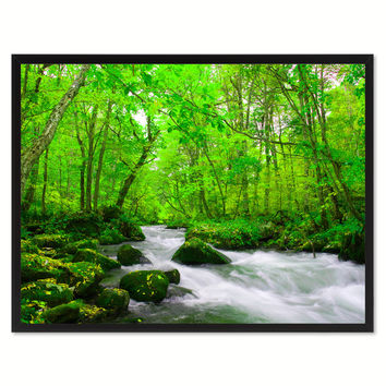Autumn Stream Green Landscape Photo Canvas Print Pictures Frames Home Décor Wall Art Gifts