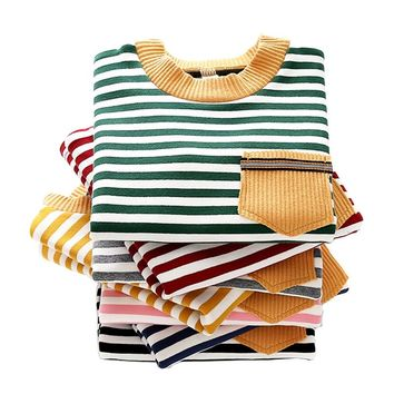 Children Striped T shirts Autumn Winter Cotton Boys Girls Clothes Long Sleeve Kids Tees Tops Toddler Clothing BC376