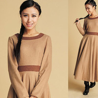 Soft Wool Vintage maxi dress with contrast waist band  (373)