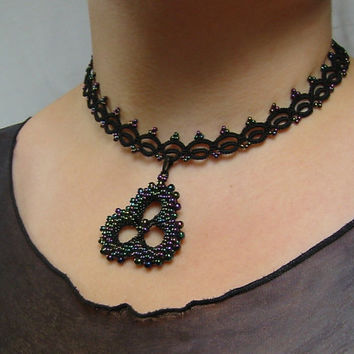 Victorian style Tatted lace necklace with beadwork trefoil pendant / charm Gothic black lace choker