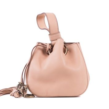 Roberto Cavalli Women's Mini Beige Leather Tassel Wristlet Bucket Bag
