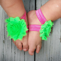 Baby Barefoot Sandals .. Lime Green .. Toddler Sandals .. Newborn Sandals