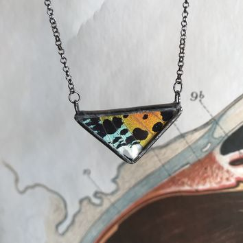 Small Rainbow Sunset Moth Necklace