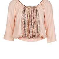 Delia's Center Stripe Peasant Blouse - Blush